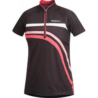 Trička Craft W Cyklodres PB Stripe černá s růžovou