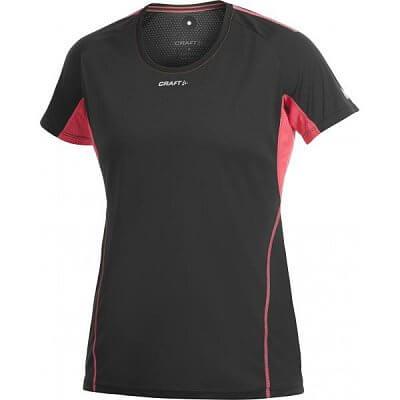Trička Craft W Triko PR černá s růžovou