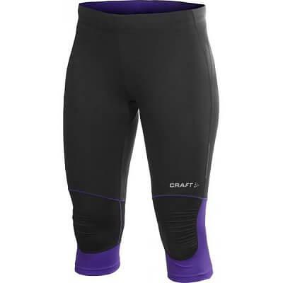 Craft W Kalhoty PR Capri černá s fialovou