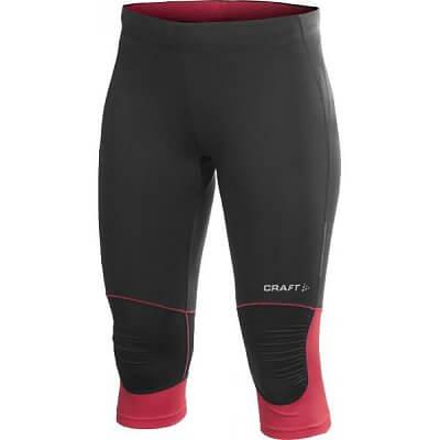 Craft W Kalhoty PR Capri černá s růžovou