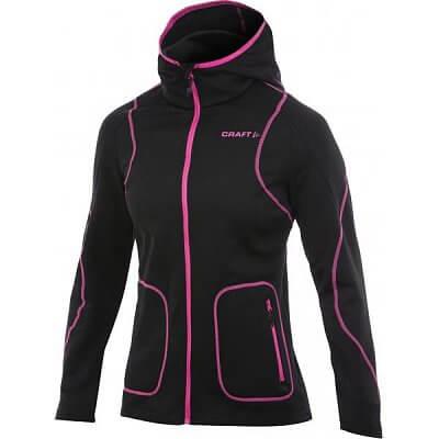 Mikiny Craft W Mikina Active Full Zip Hood černá s růžovou