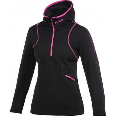 Mikiny Craft W Mikina Active Logo Hood černá s růžovou