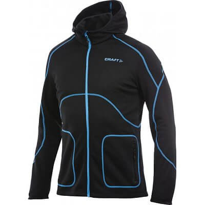 Mikiny Craft Mikina Active Full Zip Hood černá s modrou