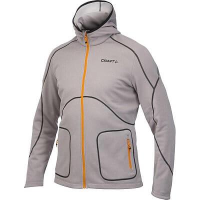 Mikiny Craft Mikina Active Full Zip Hood šedá s oranžovou