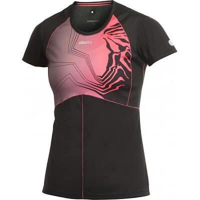 Trička Craft W Triko PR Sublimated černá s růžovou
