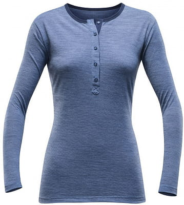 Dámské vlněné triko s dlouhým rukávem Devold Hessa Woman Button Shirt