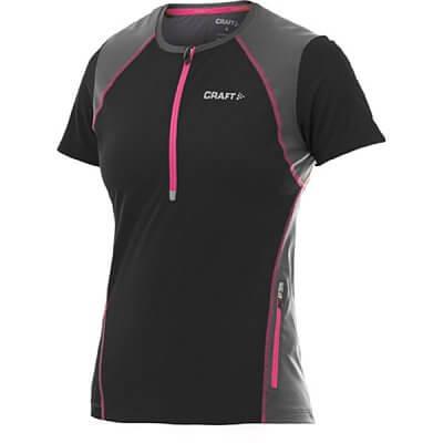 Trička Craft W Triko PR Hybrid černá s růžovou