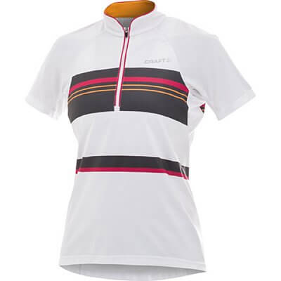 Trička Craft W Cyklodres PB Stripe bílá