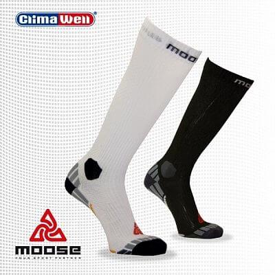 Ponožky Moose Compress Drive - bílé - unisexové sportovní ponožky