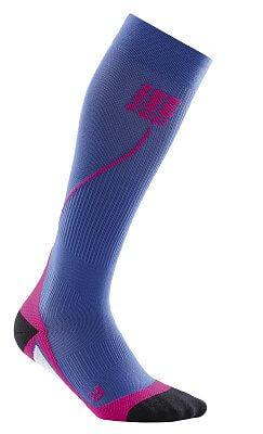 Ponožky CEP Běžecké podkolenky dámské purpurově modrá / růžová