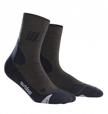 Ponožky CEP Outdoorové ponožky merino dámské hnědá / černá