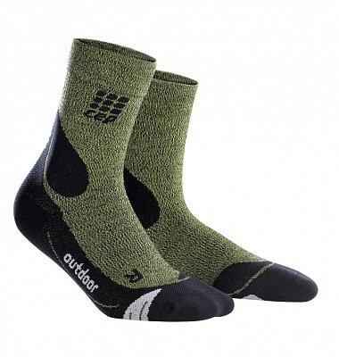 Ponožky CEP Outdoorové ponožky merino dámské zelená / černá