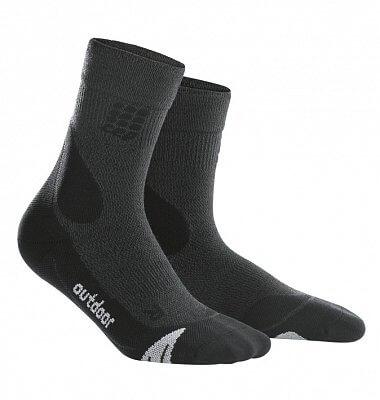 CEP Outdoorové ponožky merino pánské šedá / černá