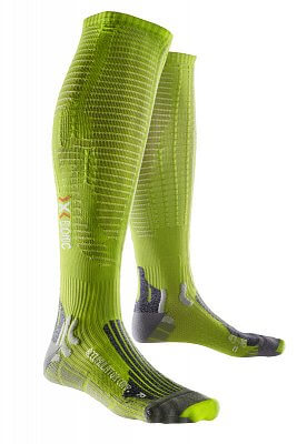 Ponožky X-BIONIC Accumulator Competition Socks green lime/pearl grey