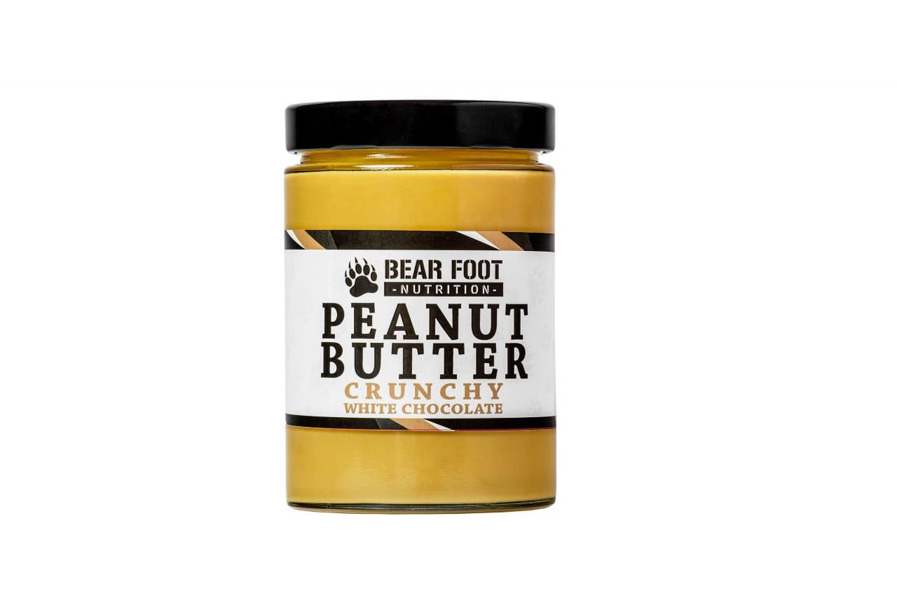 Zdravé potraviny Bear Foot Peanut Butter, Crunchy White Chocolate, 550g