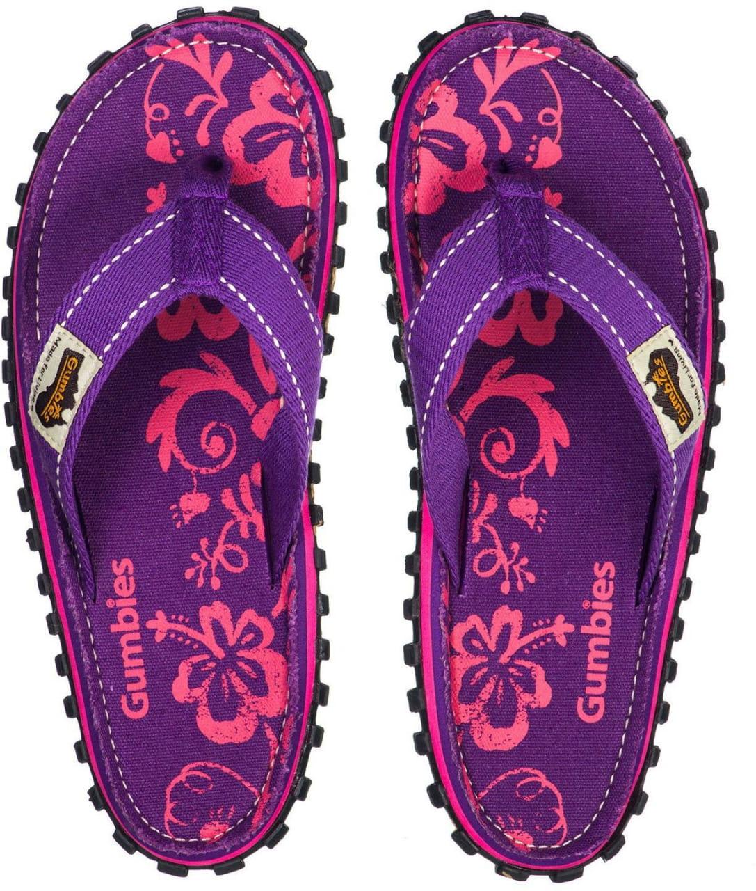 Letní obuv do města i do přírody Gumbies Purple Hibiscuc