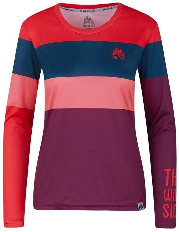 Tričká WildTee Běžecké Triko Colorblok Cherry W